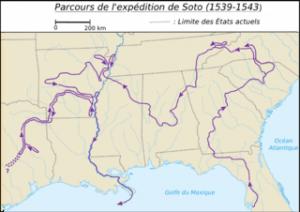 Recorrido de la expedición de Hernando de Soto