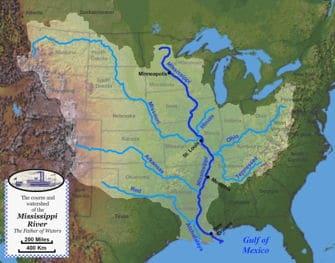 Mapa del Mississippi, su recorrido y sus afluentes