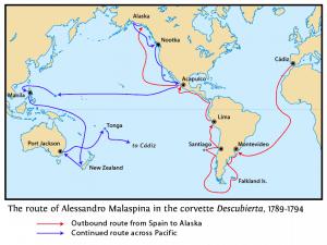 Mapa del trayecto del viaje de Malaspina