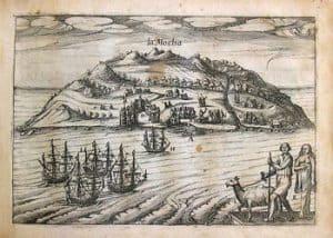 Dibujo de barcos entrando en la Isla Mocha