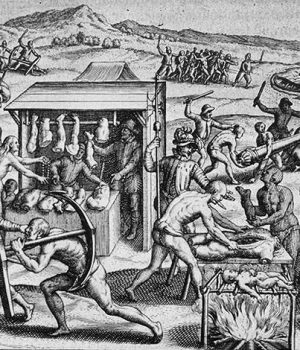 Grabado de Theodor de Bry ilustrando la Brevísima