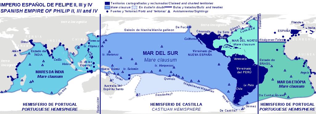 Mapa del Imperio Español época Felipe II y III y IV