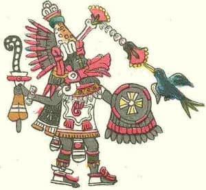 El Dios Quetzalcoatl con escudo y báculo
