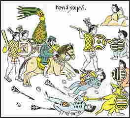 Españoles apoyados por guerreros Tlaxcaltecas