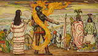 Pintura idealizada de Cortès y Malinche con Moctezuma