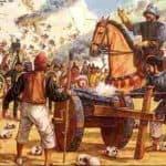 Cortes y los españoles peleando con los aztecas