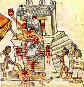 Dibujo de un templo realizando sacrificios humanos