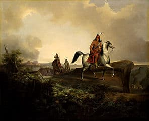 Apaches cabalgando al amanecer