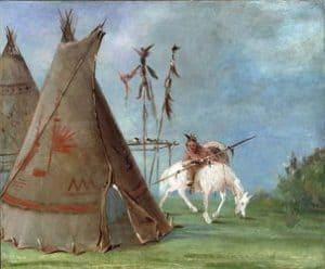 Tipi y jinete Comanche