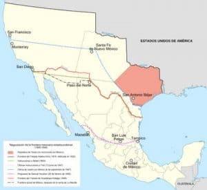 Mapa de territorios de México que pasan a U.S