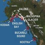 Mapa de lugares de Alaska explorados por españoles