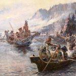 Pintura idealizada de la expedición de Lewis y Clark