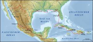 Mapa con la ruta de Cabeza de Vaca