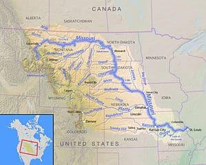 Mapa de la ruta por el río Missouri