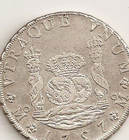 Pilar dólar español del año 1757