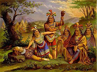 Pintura de Pocahontas y Juan Ortiz