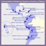 Mapa con las Universidades creadas por España por toda América y Filipinas
