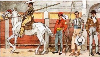 Toreo español,, picadores, toreros y mozos