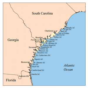 Mapa de Georgia y Carolina