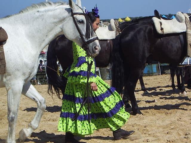 Mujer vestida con traje tradicional con los caballos