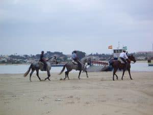 Jinetes en las playas de España