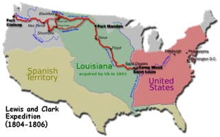 Trayecto de la expedición por U.S de Lewis y Clark