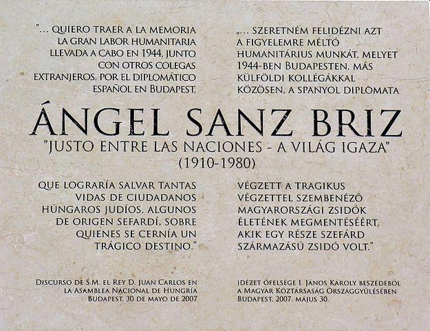 Placa homenaje a Angel Sanz Briz salvador de judios