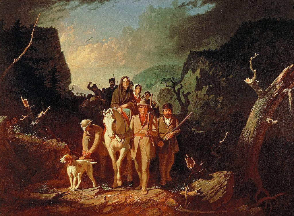 Daniel Boone viaja con su familia y otros colonos hacia Kentucky y Misuri