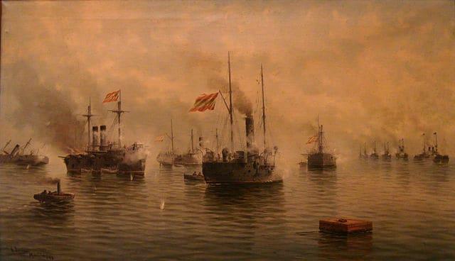 Combate Naval en Cavite (Islas Filipinas) en 1898
