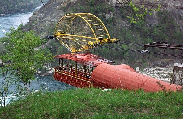 Aerotransportador de Torres Quevedo en las Cataratas del Niagara