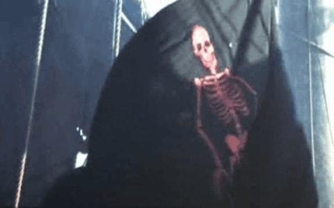 Bandera negra pirata con esqueleto