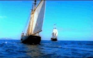 Barco rápido filibustero en persecución