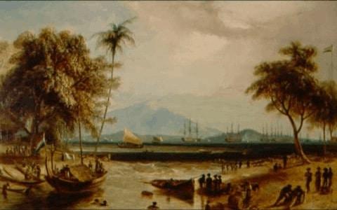 Pintura de la Isla con su vegetacion tipica
