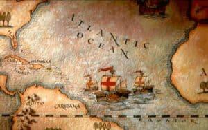 Mapa trayecto para atravesar el Atlántico