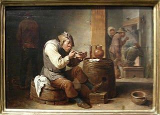 Pintura de un fumador en una bodega