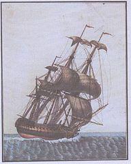 Dibujo de barco pirata inclinado por el fuerte viento