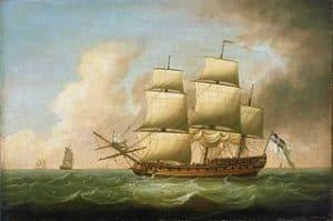Fragata velera navegando a todo trapo