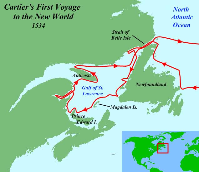 Mapa de la ruta de Cartier por Canada en 1534