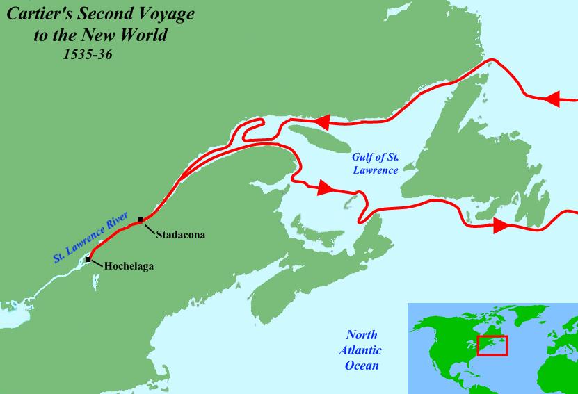 Mapa de la ruta del segundo viaje de Cartier por Canadá