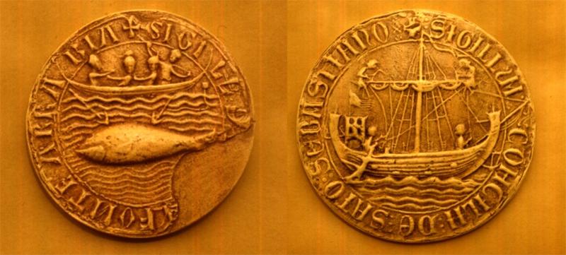 Sello de Hondarribia con las ballenas y galeones desde 1297